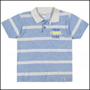 Camisa Polo Infantil Elian Listras Azul