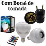 Caixa De Som Lampada Com Bluetooth 6w Com Controle E Soquete