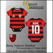 Body Bebê Flamengo Futebol Infantil Personalizado C/ Nome