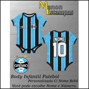 Body Bebê Grêmio Futebol Infantil Personalizado C/ Nome