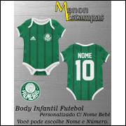 Body Bebê Palmeiras Futebol Infantil Personalizado C/ Nome