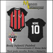 Body Bebê São Paulo Futebol Infantil Personalizado C/ Nome