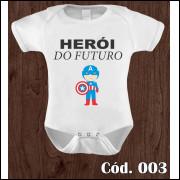 Body Infantil Herói do Futuro Capitão América Estampa Engraçada