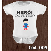 Body Infantil Herói do Futuro Superman Estampa Engraçada