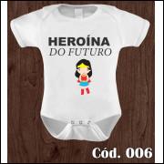 Body Infantil Heroína do Futuro Mulher Maravilha Estampa Engraçada