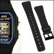 4da4cef4371 Pulseira de Borracha para Relógio Aqua AQ81 Preta