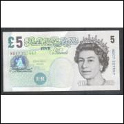 Inglaterra - 5 Pounds, 2002, Rainha Elizabeth II, soberba.