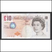 Inglaterra - 10 Pounds, 2000, Rainha Elizabeth II, soberba.