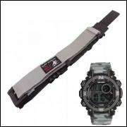 Pulseira em Nylon Para Relógio Mormaii MO12579A 20mm Cinza