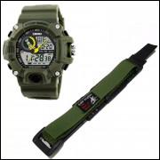 Pulseira em Nylon Para Relógio Skimei 1029 20mm Verde
