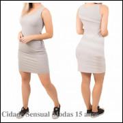 Vestido Feminino Regata Tubinho Justo Com Bolso Moda Casual