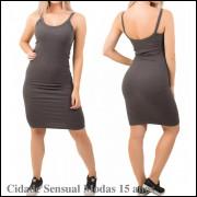 Vestido Midi Canelado Ribana Alça Fina Feminino Curto Moda