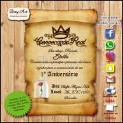Convite Digital -  Pergaminho Cúpula A Bela e a Fera mod. 006