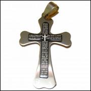 Pingente Crucifixo Aço Grande Com Pai Nosso P4
