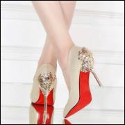 Sapato Scarpin Salto Importada Luxo Sexy Metal Ref890