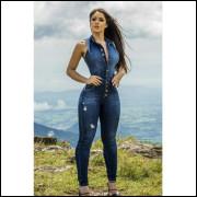 Macacão Longo Jeans Regatinha  Ref5679