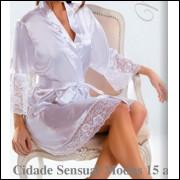 4507- robe curto de manga comprida em cetim com renda , tamanhos 42, 44 , 46 e 48 , cores , branco ,