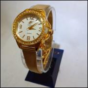 Relogio Feminino Dourado Analógico Banhado a ouro 18k c5