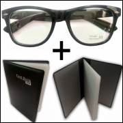 Oculos Preto com lentes Sem Grau e Porta Cartões Preto