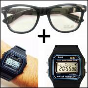 Oculos Preto com lentes Sem Grau e Relógio Aqua Aq-81
