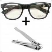 Oculos Preto com lentes Sem Grau e Cortador de Unha