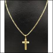Corrente Colar Banhada a Ouro 18k D1 60cm + Pingente Crucifixo
