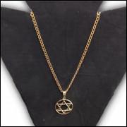 Corrente Colar Banhada a Ouro 18k D1 60cm + Pingente Estrela