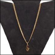 Corrente Colar Banhada a Ouro 18k D1 60cm + Pingente Clave