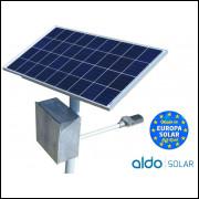 POSTE SOLAR GERADOR ENERGIA AUTONOMO SOLAR LED 15W PAINEL 55W BAT 90A BLUESOLAR VICTRON ALUMINI
