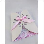 Convite Delicado Rosa Floral  - 50 unidades