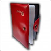 Carteira Porta Cartão e Documento com 8 Divisórias Vermelho