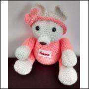 Amigurumi Ursinho personalizado, confeccionado em Crochê, para decoração.
