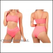 Kit com 10 Biquínis Hots Pants Moda Praia Top Faixa Verão Feminino Liso frete grátis