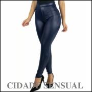 Calça Cirre Feminina Cintura Alta Disco Hot Pants Couro Fake azul