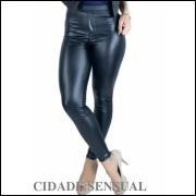 Calça Cirre Feminina Cintura Alta Disco Hot Pants Couro Fake preta