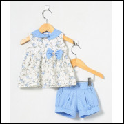 Conjunto Pingo Doce Bebê Menina Arabesco Azul