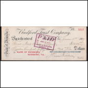 CHEQUE BANK OF RICHMOND da Virginia  de 1907 #3 ENVIO GRATIS