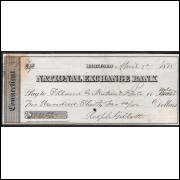 CHEQUE NATIONAL  EXCHANGE BANK de Hartford de 1875 #9 ENVIO GRATIS
