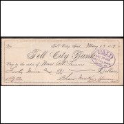 CHEQUE TELL CITY BANK - de 1889 #15 ENVIO GRATIS