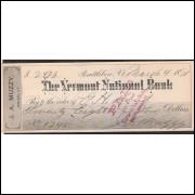 CHEQUE THE VERMOND NATIONAL BANK - 1891 - #21 ENVIO GRATIS