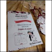 Convite Quebra Cabeças Marsala Floral 2020- 10 Unidades