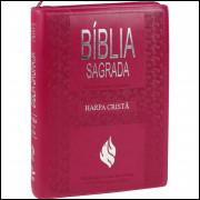 Bíblia Grande com Harpa Cristã Letra Gigante Índice e Zíper Pink