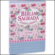 Bíblia com Harpa Cristã Letra Grande Semi Flexível Ilustrada Flores