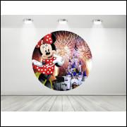 Painel Sublimado Tecido Redondo Minnie Vermelha 1,50 de diâmetro com elástico