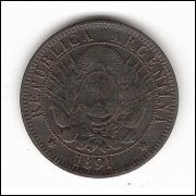 ARGENTINA - 2 centavos - 1891 - km 33
