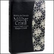 Bíblia de Estudo da Mulher Cristã Média com Harpa Cristã Preta