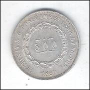 1860 - 500 Réis, prata, s/fc, Brasil-Império, Dom Pedro II.