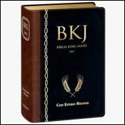 Bíblia King James 1611 Fiel com Estudos Holman Luxo Marrom e Preta