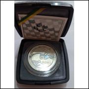1995 - 2 Reais, Comemorativa Ayrton Senna. Prata. No estojo original. Automobilismo Fórmula 1
