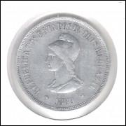 1889 - 1000 Réis, prata,MBC, Brasil-República.
